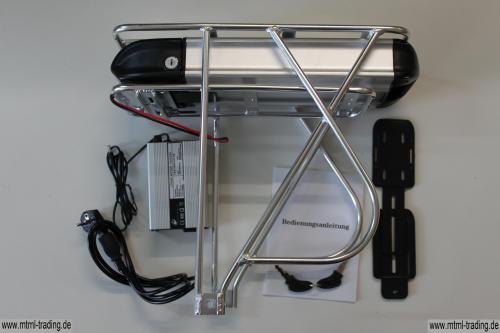 Gepäckträgerakku LiFePo4 24V 15Ah mit Controllergehäuse Typ2 inkl. Gepäckträger